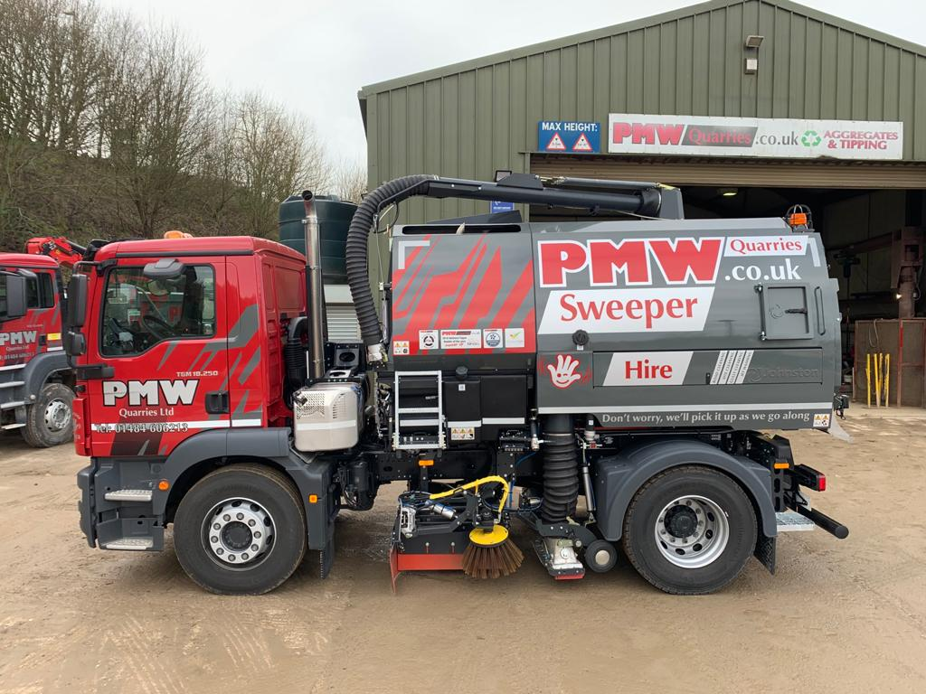 road sweeper side on